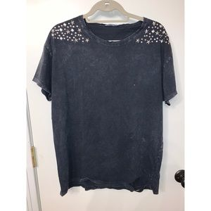 Zara Basic Grey Star Studded T Shirt